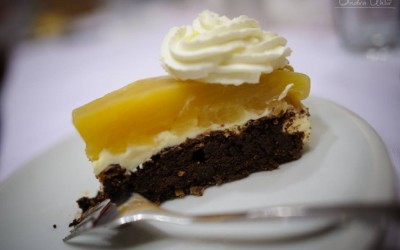 Čokoládový dort s hruškovým želé